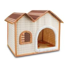 7Life Natural Bamboo Dog House Crates for Dogs Cats and Other Small Pets  Portable Folding Kennel for Pets indoor & Outdoor Summer Use(Doublebrown)