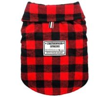 Beirui Windproof British Plaid Dog Vest Winter Coat  Dog Apparel Cold Weather Dogs Jacket for Puppy XXLarge dogsRedBack length for 138″(35cm)