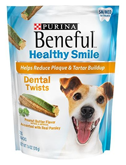 Beneful Healthy Smile Dental Dog Snacks Small Medium Twists 74Ounce Pouch Pack of 1