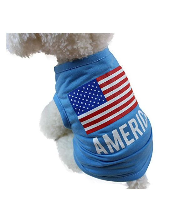 Cute Pet Dog Vest American Flag Small Puppy Summer Apparel Clothing
