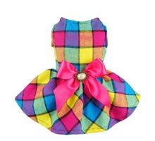 Fitwarm Vintage Plaid Pet Clothes Dog Dress Ribbon Dog Vest Shirts Apparel XS