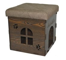 Fsobellaleo Linen KD Storage Ottoman Dog House Footrest Chair Brown 158″x158″x158″