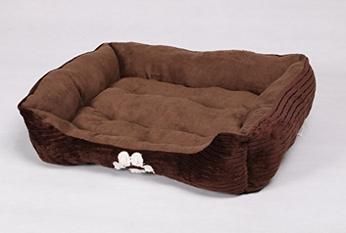 HappyCare Textiles Reversible Rectangle Pet Bed with Dog Paw Printing Coffee