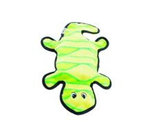 Invincibles Gecko Stuffingless Durable Tough Plush Dog Squeaky Toy with 4 Squeakers by Outward Hound Large Yellow and Green