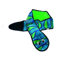Invincibles Snake Stuffingless Durable Tough Plush Dog Squeaky Toy with 6 Squeakers by Outward Hound Large Blue and Green