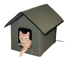 K&H Manufacturing Outdoor Kitty House 18 x 22 x 17Inches Heated  Olive