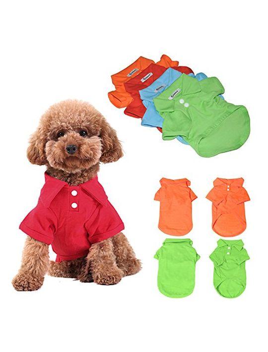 KINGMAS 4pcs Dog Shirts Pet Puppy Polo TShirt Clothes Outfit Apparel Coats Tops  Small