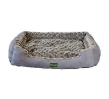 Mango Spot Faux Suede Dogs Sofa Fluffy Washable Rectangular Cuddler Pet Bed with Removable Pillow 283Lx212Wx43H Inch Gray