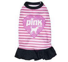 "Ollypet Cute Funny Dog Dress ""Pink Dog"" for Small Pets Girl Clothes Striped Skirt Summer Apparel S"