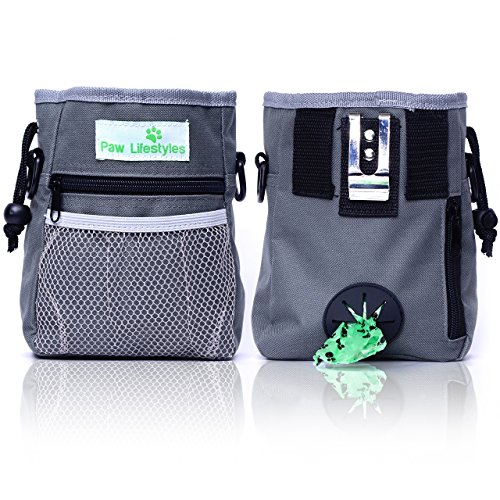 Paw Lifestyles – Dog Treat Training Pouch – Easily Carries Pet Toys Kibble Treats – BuiltIn Poop Bag Dispenser – 3 Ways To Wear – Grey