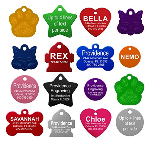 Pet ID Tags  8 Lines of Engraving Available | Size Small or Large | Bone Round Star Heart Hydrant Paw Cat Face | 9 Colors | Dog Tag Cat Tag Personalized Anodized Aluminum