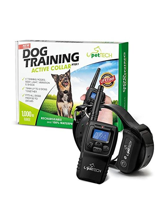 PetTech Premium Dog Training Shock Collar Fully Waterproof 1000ft Range