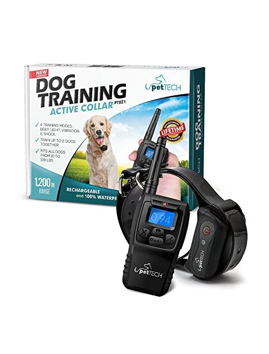 PetTech Remote Controlled Dog Training Collar Rechargeable and Waterproof All Size Dogs
