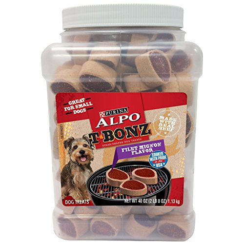 Purina ALPO TBonz Filet Mignon Flavor SteakShaped Dog Treats 40Ounce Canister Pack of 1