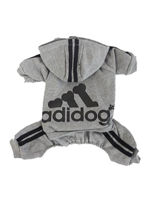 Scheppend Adidog Pet Clothes for Dog Cat Puppy Hoodies Coat Winter Sweatshirt Warm SweaterGrey Large