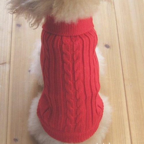 Tangpan Turtleneck Classic StrawRope Pet Dog Sweater Apparel(RedXS)
