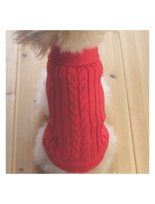 Tangpan Turtleneck Classic StrawRope Pet Dog Sweater Apparel(RedXS)