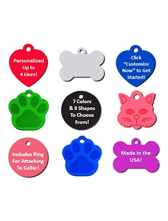 Vet Recommended Pet ID Tag Dog and Cat Personalized | Many Shapes and Colors to Choose From! | MADE IN USA Strong Anodized Aluminum