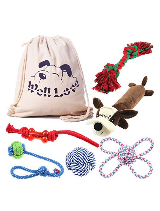 Well Love Dog Toys  Chew Toys  100 Natural Cotton Rope  Squeak Toys  Dog Balls  Dog Bones  Plush Dog Toy  Dog Ropes  Tug of War Ball  Toys for Dog 6pack Set