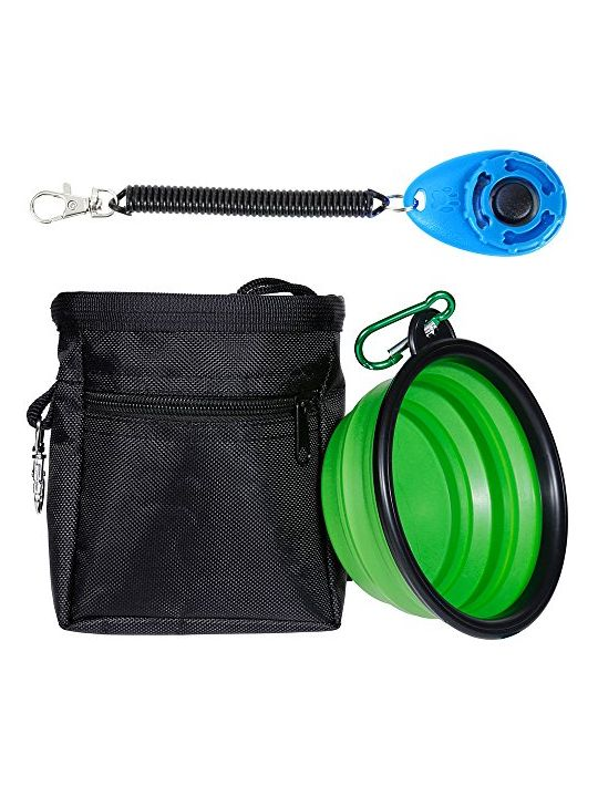 Zacro Dog Treat Training Pouch Bag with Adjustable Strap One Training Clicker and One Food Water Bowl