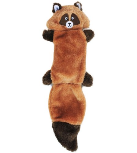 ZippyPaws Zingy 3Squeaker No Stuffing Plush Dog Toy Raccoon