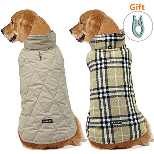 Dog Jacket Reversible Cloth  with Clothes Hanger Cold Weather Coats Dog Apparel Warm Vest for WinterBeige PlaidXL