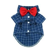 Fitwarm Gentle Formal Blue Dog Shirts for Pet Polo Clothes Apparel + Red Wedding Bow Tie Medium