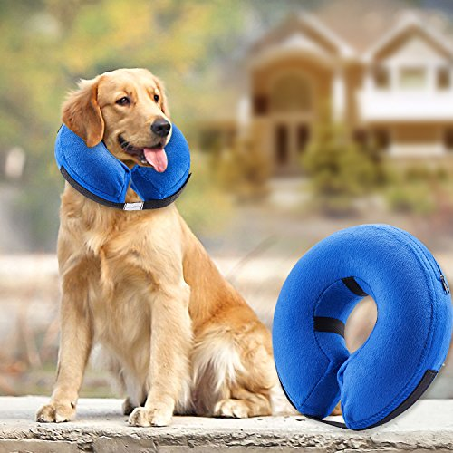 Protective Inflatable Collar for Dogs and Cats  Soft Pet Recovery Collar Does Not Block Vision ECollar Large