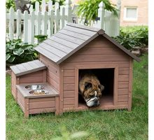 Boomer & George AFrame Dog House with Food Bowl Tray and Storage Cubby