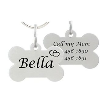 Double Sided Laser Etched Stainless Steel Pet ID Tag for Dog Engraved and Personalized Bone Shape