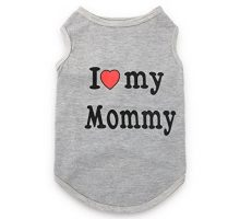 DroolingDog Small Dog Clothes Pet Tshirt I LOVE MY Mommy Puppy Apparel for Small Dogs Large Grey