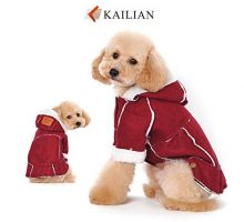 Kailian Dog winter Jacket Puppy Hooded Coat Dog ApparelDog Snowsuit Faux Shearling Fabric Coat Cotton Clothes RedL