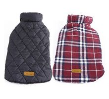 Kuoser Cozy Waterproof Windproof Reversible British style Plaid Dog Vest Winter Coat Warm Dog Apparel for Cold Weather Dog Jacket for Small Medium Large dogs with Furry Collar