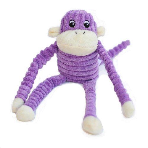 ZippyPaws Spencer the Crinkle Monkey Purple Squeaky Plush Dog Toy