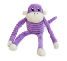ZippyPaws Spencer the Crinkle Monkey Purple Squeaky Plush Dog Toy
