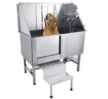 Happybuy 50″ Professional Stainless Steel Pet Dog Grooming Bath Tub with Faucet Walkin Ramp & Accessories