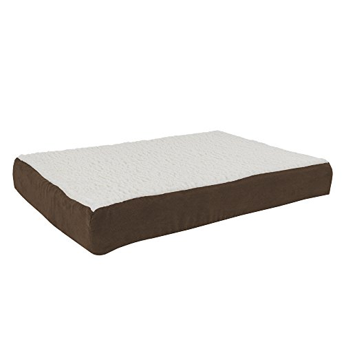 Orthopedic Sherpa Top Pet Bed with Memory Foam and Removable Cover  30x205x4 Brown by PETMAKER