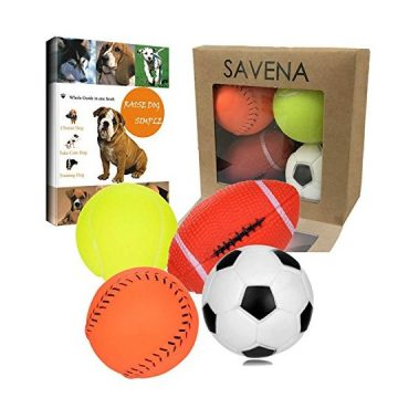 Savena Squeaky Dog Ball Bite Resistant Squeaker No Stuffing Dog Toy Assorted Types Colors4Pack