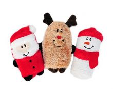 ZippyPaws Holiday Squeakie Buddies Squeaky No Stuffing Plush Dog Toy 3Pack