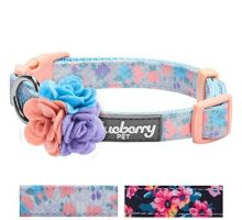 Blueberry Pet 5 Patterns Holiday Gift Made Well Lovely Floral Print Dog Collar in Lavender for Small Dogs with Detachable Flower Accessory S Neck 12″16″