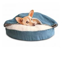 FurHaven Round Snuggery Burrow Pet Bed Blue 26″