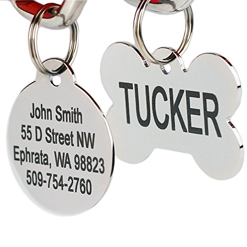 GoTags Pet ID Personalized Dog and Cat Tags Stainless Steel Custom Engraved with up to 8 Lines of Text Front and Backside Engraving Bone Shape Regular
