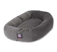 Majestic Pet 40″ Gray Velvet Bagel Dog Bed