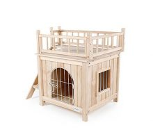 Petsfit Indoor Wooden Cat Pet Dog House with Stairs and Wire Door 28″Lx21″Wx25″H