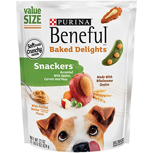 Purina Beneful Baked Delights Snackers Peanut Butter and Cheese Dog Snacks  22 oz Pouch Pack of 1