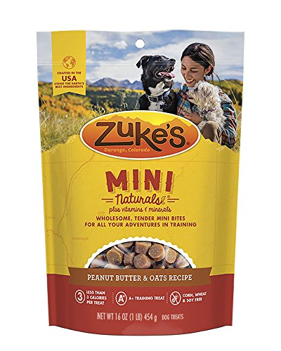 Zuke Mini Naturals Peanut Butter & Oats Recipe Dog Treats  16 oz Pouch