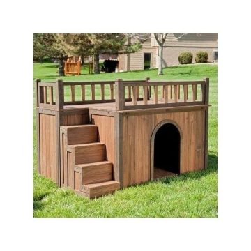 Dog House With Stairs  Staircase  Balcony  Porch  Wood  Wooden
