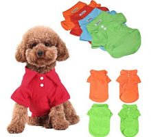 KINGMAS 4pcs Dog Shirts Pet Puppy Polo TShirt Clothes Outfit Apparel Coats Tops  Large