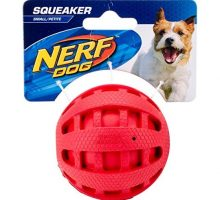 Nerf Dog Checker Squeak Rubber Ball Dog Toy Small Medium Red