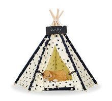 Pet Teepee Dog & Cat Bed  Portable Dog Tents & Pet Houses With Cushion & Blackboard  24 Inch  Up to 15lbs Stars pattern